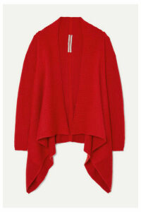 Rick Owens - Fisherman Draped Ribbed Wool-blend Cardigan - Red