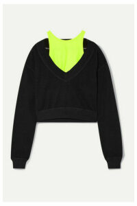 alexanderwang.t - Cropped Layered Stretch-jersey Sweatshirt - Black