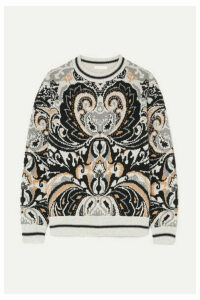 See By Chloé - Intarsia Wool-blend Sweater - Light gray