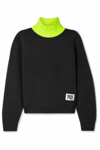 alexanderwang.t - Cotton-blend Fleece And Jersey Turtleneck Sweatshirt - Black