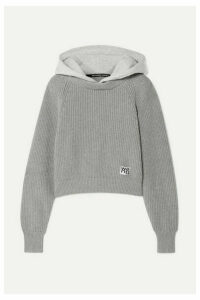 alexanderwang.t - Hooded Jersey And Ribbed Cotton-blend Sweater - Light gray