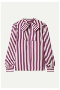 MICHAEL Michael Kors - Pussy-bow Striped Silk-twill Blouse - Magenta