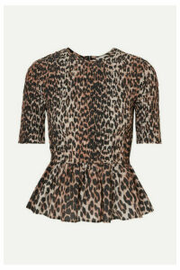 GANNI - Shirred Leopard-print Cotton And Silk-blend Peplum Top - Leopard print