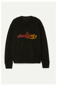 The Elder Statesman - Good Luck Intarsia Cashmere Sweater - Black