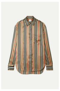 Burberry - Striped Silk-satin Shirt - Beige