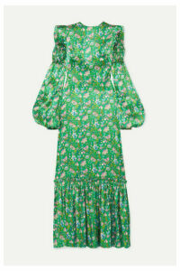 The Vampire's Wife - Shirred Floral-print Silk-satin Maxi Dress - Green