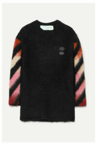 Off-White - Oversized Intarsia Wool-blend Sweater - Black