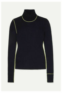 Maison Margiela - Embroidered Ribbed Wool Turtleneck Sweater - Navy