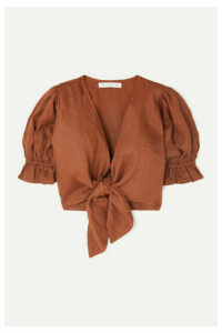 Faithfull The Brand - Jamais Cropped Tie-front Linen Top - Brown