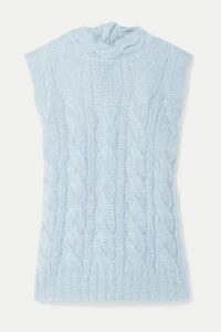 Prada - Open-back Cable-knit Mohair-blend Sweater - Sky blue