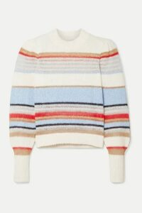 Veronica Beard - Meredith Striped Knitted Sweater - White