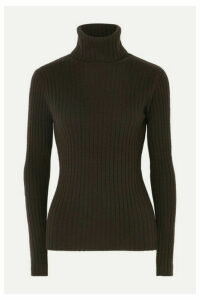 Allude - Ribbed Cashmere Turtleneck Sweater - Brown