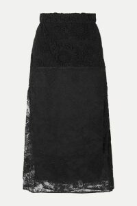 Prada - Paneled Lace Midi Skirt - Black