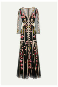 Temperley London - Rosy Embroidered Tulle Maxi Dress - Black