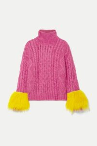 Prada - Shearling-trimmed Cable-knit Mohair-blend Sweater - Fuchsia