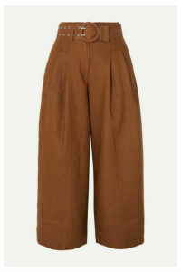 NICHOLAS - Belted Linen Culottes - Brown