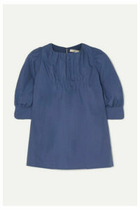 Atlantique Ascoli - Ruched Cotton-poplin Blouse - Blue