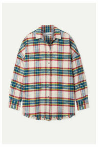 IRO - Darkina Oversized Frayed Checked Cotton-flannel Shirt - Blue