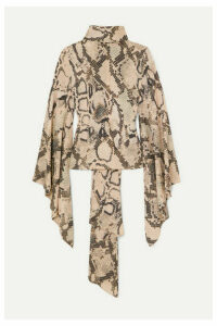 Solace London - Ali Tie-detailed Snake-print Crepe De Chine Blouse - Beige