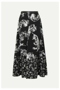 Loewe - Leather-trimmed Printed Satin And Linen Maxi Skirt - Black