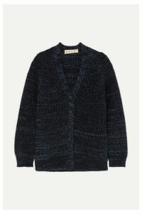 Marni - Oversized Ribbed Mélange Wool Cardigan - Navy