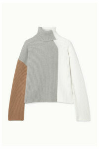 Loro Piana - Color-block Ribbed Cashmere Turtleneck Sweater - Ivory