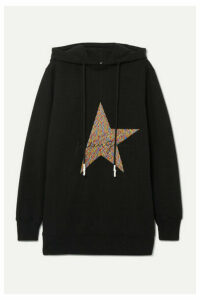 Golden Goose - Hikaru Oversized Embroidered Cotton-blend Jersey Hoodie - Black