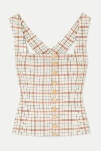 Nicholas - Button-detailed Checked Tencel-blend Top - Beige