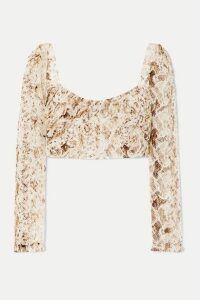 NICHOLAS - Gathered Snake-print Silk-chiffon Top - Brown