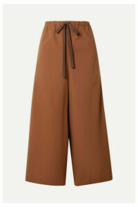 Theory - Cropped Stretch-cotton Poplin Wide-leg Pants - Brown