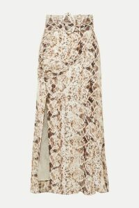NICHOLAS - Ruched Snake-print Silk-chiffon Midi Skirt - Brown