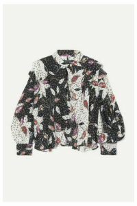 Isabel Marant - Ricky Ruffled Printed Silk-blend Crepe De Chine Blouse - Black