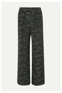 we are LEONE - Noah Printed Silk-blend Satin Wide-leg Pants - Black