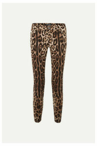 Dolce & Gabbana - Cropped Leopard-print Skinny Jeans - Brown