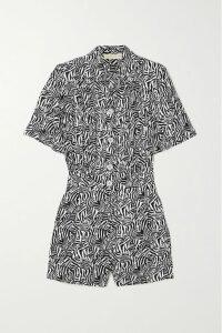 Philosophy di Lorenzo Serafini - Asymmetric Zebra-print Crepe De Chine Midi Skirt - White