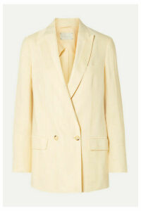 ARJÉ - Alek Double-breasted Striped Linen-blend Jacquard Blazer - Ecru