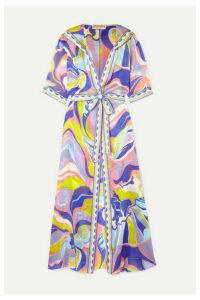 Emilio Pucci - Hooded Printed Silk-georgette Robe - Purple