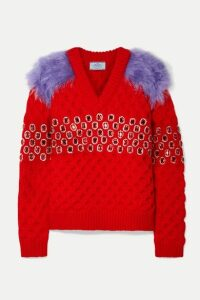 Prada - Embellished Mohair And Cotton-blend Trimmed Wool Sweater - Red