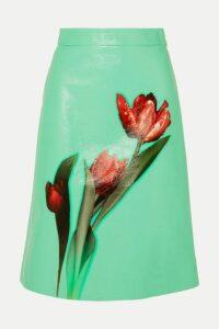 Prada - Floral-print Leather Midi Skirt - Green