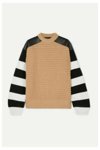 Haider Ackermann - Leather-paneled Striped Fleece Wool And Cashmere-blend Sweater - Camel