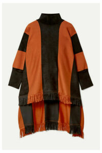 Oscar de la Renta - Paneled Silk-blend Turtleneck Poncho - Orange