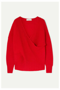 Victoria, Victoria Beckham - Oversized Draped Ribbed Wool Sweater - Red