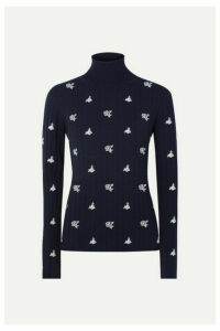 Chloé - Embroidered Ribbed Merino Wool Turtleneck Sweater - Navy