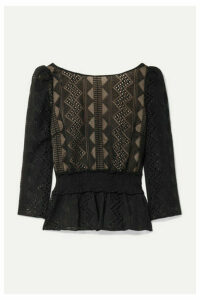 Rachel Zoe - Peri Smocked Embroidered Crepon Blouse - Black
