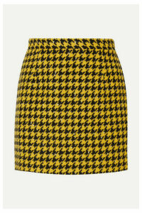 Alessandra Rich - Houndstooth Wool-blend Tweed Mini Skirt - Yellow