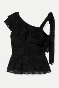 Rachel Zoe - Katerina Ruffled Fil Coupé Silk And Cotton-blend Chiffon Blouse - Black