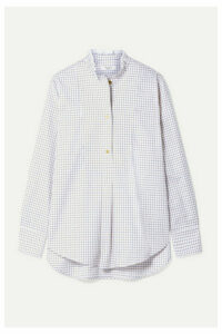 Atlantique Ascoli - Ruffled Checked Cotton-twill Shirt - Ivory