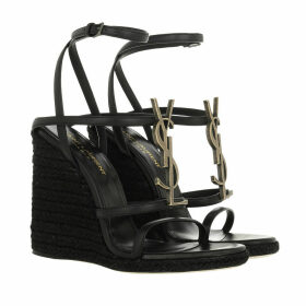 Saint Laurent Sandals - Cassandra Wedge Espadrilles Logo Leather Black - black - Sandals for ladies