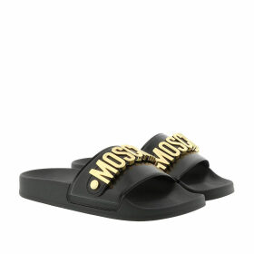 Moschino Loafers & Slippers - Logo Slippers Nero/Oro - black - Loafers & Slippers for ladies