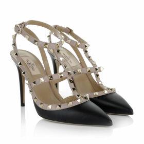 Valentino Pumps - Rockstud Pump Ankle Strap Black Powder - rose, black - Pumps for ladies